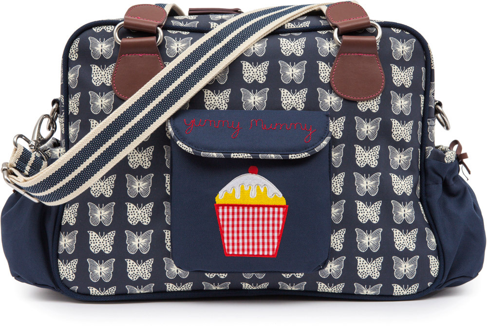 Pink Lining Wickeltasche Yummy Mummy  Cream Butterflies on Navy (15AW263)