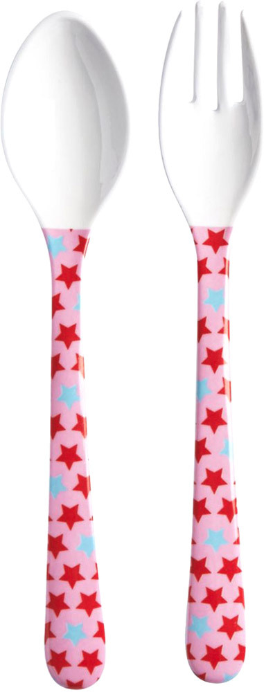 Kids Spoon and Fork Girls Star Print (KICUT-STARG)