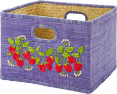 Rice Square Raffia Basket bestickt