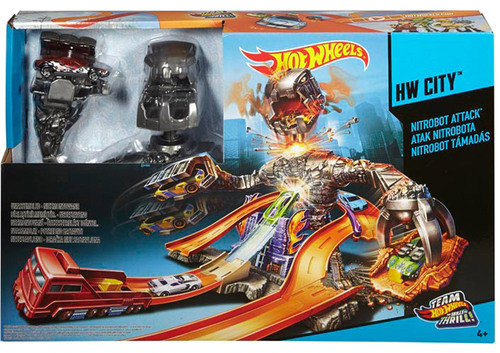 hot wheels nitrobot attacke spielset autorennbahn. Black Bedroom Furniture Sets. Home Design Ideas