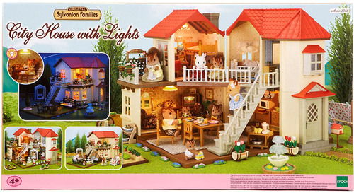 sylvanian families stadthaus mit licht puppenm bel jetzt online kaufen. Black Bedroom Furniture Sets. Home Design Ideas
