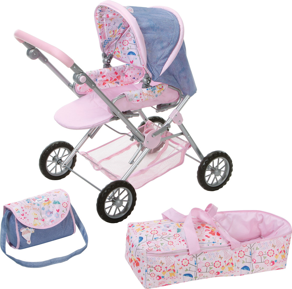 zapf creation 808498 baby born deluxe puppenwagen blau rosa puppenwagen jetzt online. Black Bedroom Furniture Sets. Home Design Ideas