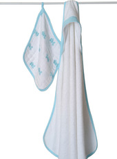 Aden + Anais Hooded Terry Towel & Muslin Washcloth Set