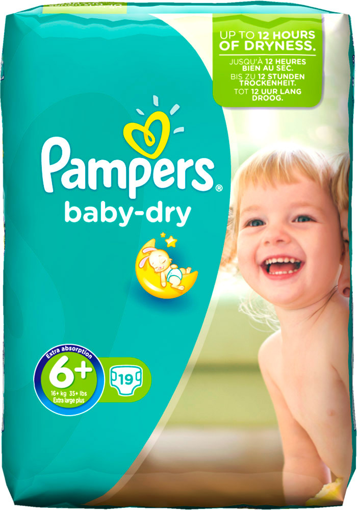 Pampers Baby Dry  4 x Extra Large Plus, Sparpack, 76 Stück, Gr. 6+