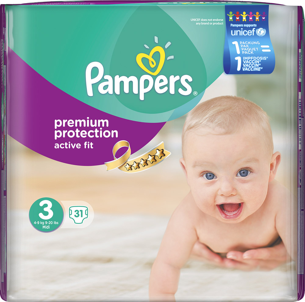 Pampers Active Fit  Midi, 31 Stück, Gr. 3
