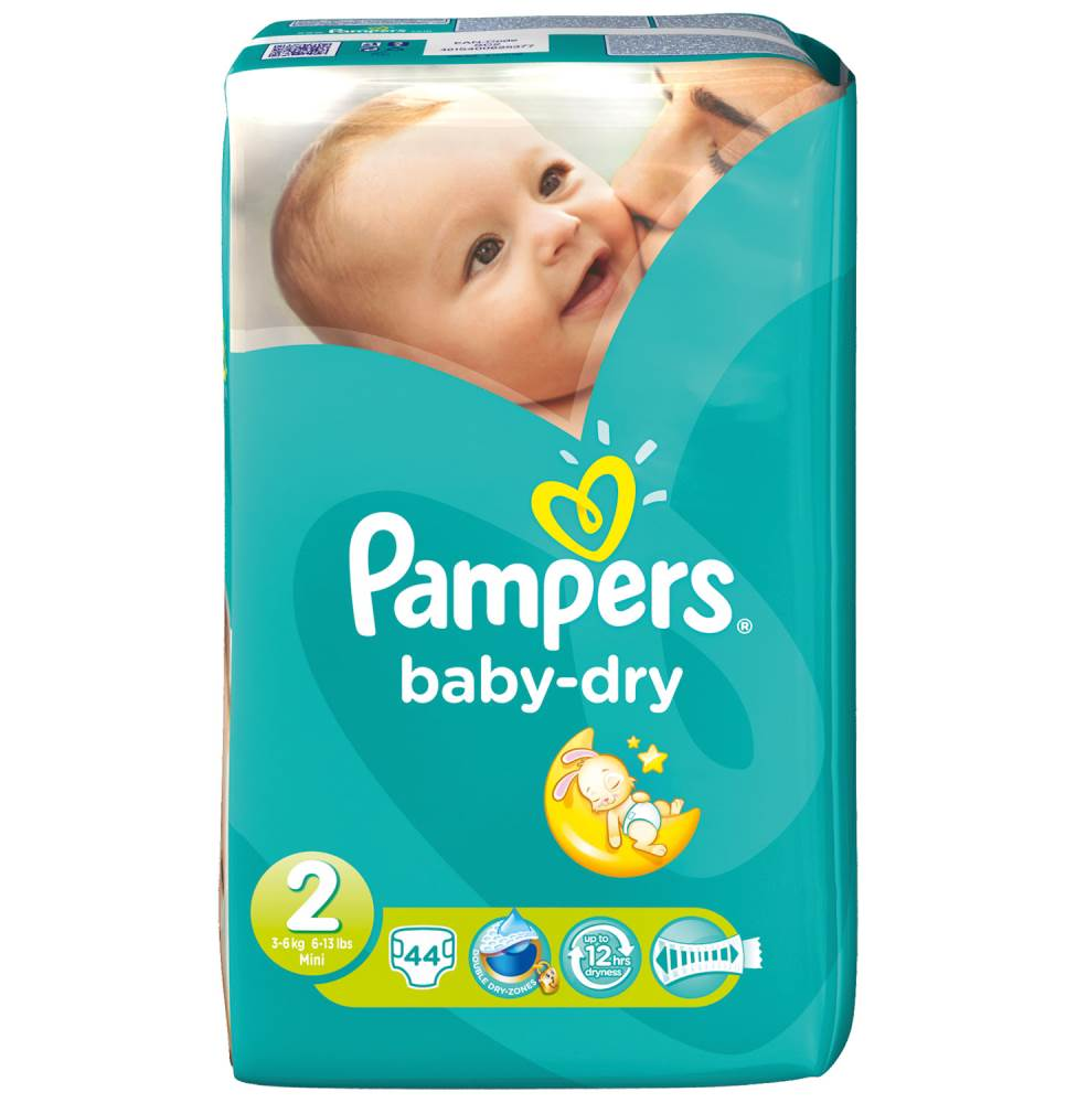 Pampers Baby Dry  Mini 44 Stück, 3-6 kg, Gr. 2